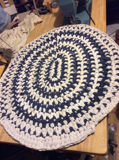 Blue & white t-shirt rug